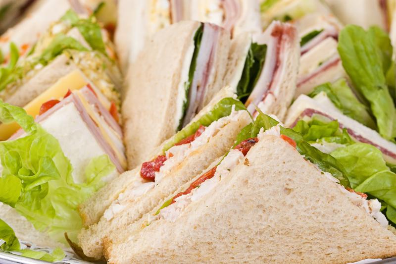 salad and ham sandwiches